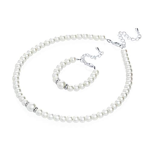 Crystal Dream Elegant White Simulated Pearl Baby Girl Necklace and Bracelet Stylish Gift Set (GS-P-W_S)