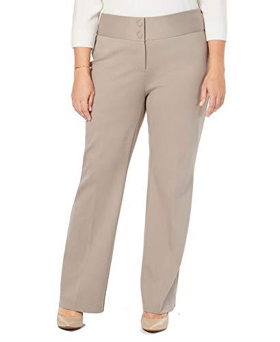 Alfani Womens Plus Wide Leg Mid-Rise Trouser Pants Beige 24W