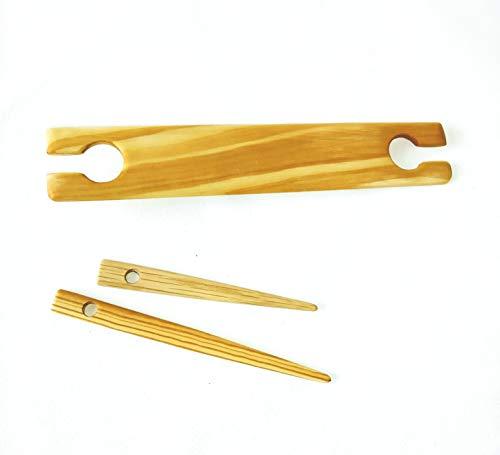 6 inch x 1.5 wide single weaving stick shuttle. 2 free needles. Oak