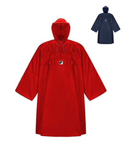 HOCK Wander Poncho de pluie « Wetter AS Klima » avec manches longues – Le poncho d'extérieur respirant pour homme et femme – Cape de pluie avec large coupe pour la randonnée avec sac à dos – Rouge – L