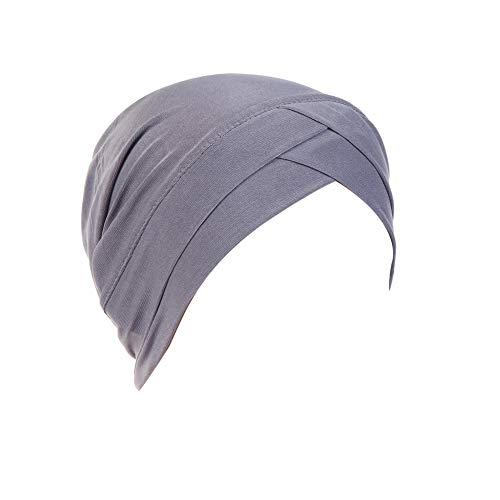 iKulilky Dames tulband muts, zomer hoofddeksel beanie muts slaapmuts moslim vintage hoofddoek voor haarverlies, chemo, - grijs