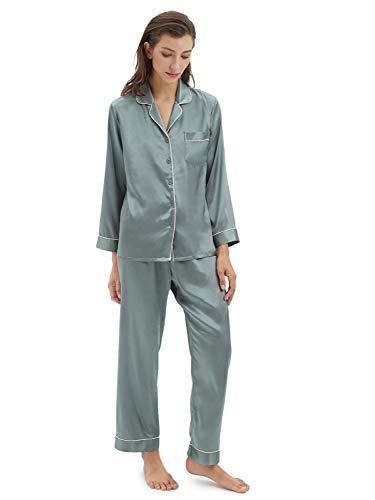 SIORO Conjunto de Pijamas de Mujer Pijamas de satén de Seda para Mujer Ropa de Dormir de Manga Larga con Botones, Verde grisáceo, S