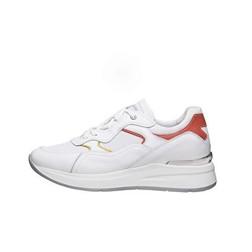 Nero Giardini E010507D Sneakers Donna in Pelle E Tela - Bianco 38 EU