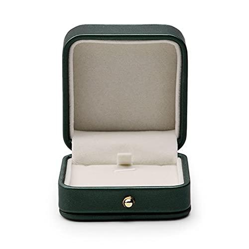 Preciosa caja de piel para anillos de boda, color verde y negro