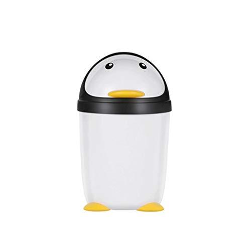 Poubelle Accueil Penguin Trash Can Cute Girl Creative Cartoon Chambre Garbage Can Mode Grande Salle de Bain Salon Cuisine Poubelle Bacs à déchets (Color : Large)