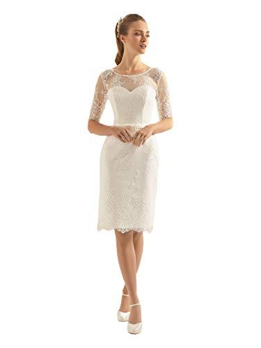 Bianco Evento Brautkleid hochwertiger Spitze und Stretchsatin Ivory Gr. 42/44