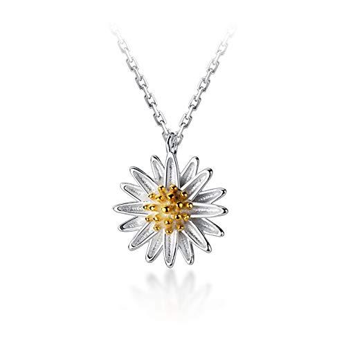 HUKJ S925 Silver Forest Sweet Little Daisy Collier, Chaîne De Clavicule De Fleur Courte De Mode Féminine