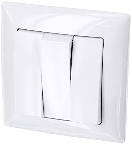 Interruptor triple de serie todo en uno, marco + montaje empotrado + cubierta (Serie G1 blanco puro)