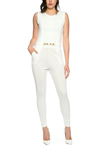 Crazy Age Eleganter Jumpsuit Overall S-XL (XL, weiß)
