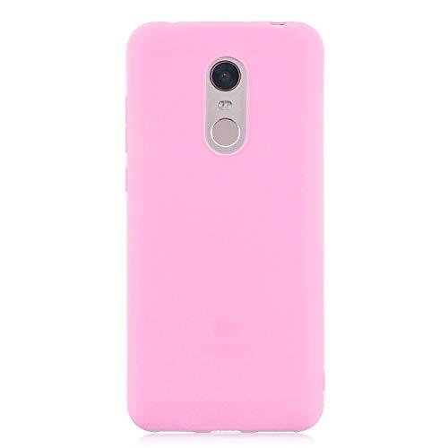 cuzz Custodia Xiaomi Redmi 5 Plus+{Film di Vetro temperato}Silicone TPU Cover Morbida Protettiva Custodia Ultra Sottile Leggero Cover-Rosa Scuro