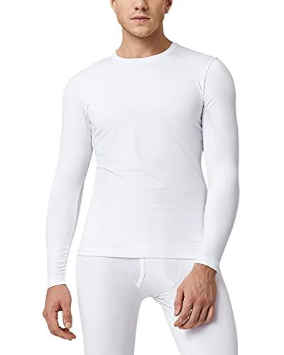 LAPASA Camiseta Térmica, Pack de 2 Manga Larga para Hombre. -Brushed Back Fabric Technique- M09 (L, Blanco)