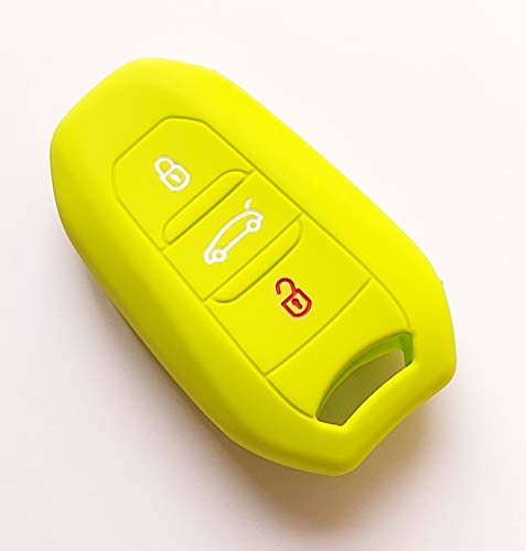 Carcasa de silicona para llave de coche, 2 botones, compatible con Peugeot 3008 308 5008 508 Citroën DS C4 CACTUS PICASSO entrada sin llave 13 (verde)