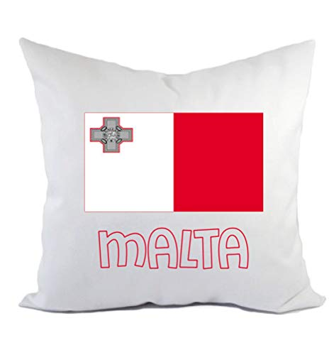 Typolitografie Ghisleri kussen Malta vlag kussensloop en vulling 40 x 40 cm van polyester