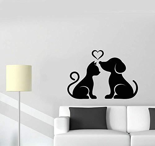 Kat en hond huisdier huisdieren liefde Stickers huisdier winkel muur raamdecoratie stickers salon huisdecoratie poster sticker 57 * 40cm