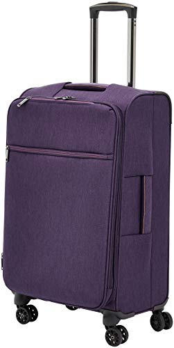 AmazonBasics Belltown, Softside Expandable Luggage Spinner Suitcase with Wheels, 26 Inch, Purple
