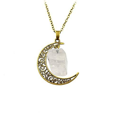 DGSDFGAH Collar De Mujer Vintage Irregular Bronze Moon White Spar Quartz Crystals Collares Pendientes De Piedra Natural, para Mujeres, Hombres, Niñas, Regalo De Fiesta De Cumpleaños, Cadena De Clav
