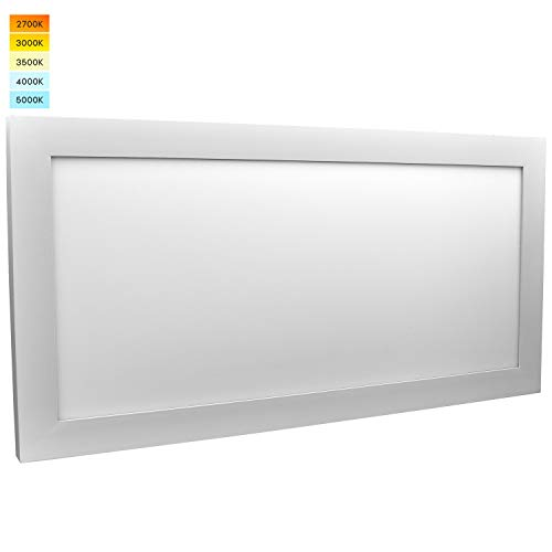 Luxrite 1x2 FT LED Panel Lights, 22W Ultra Thin Ceiling Light Fixture, 5 Color Selectable 2700K | 3000K | 3500K | 4000K | 5000K, 2100 Lumens, Flush Mount Ceiling Light, Damp Rated, UL Listed