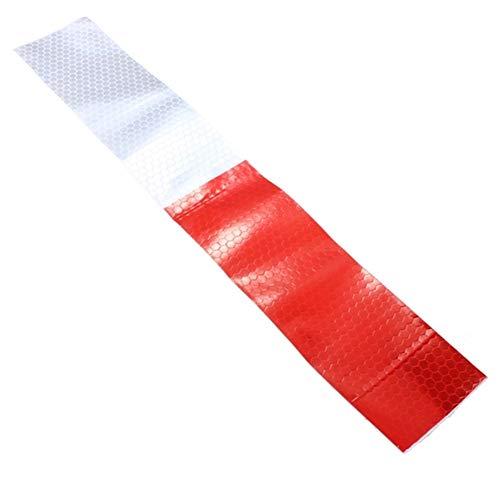 Cheng L DIY Rot Weiß Reflektierende Sicherheitswarnung Auffälligkeit Tape-Film-Aufkleber 30X4.6cm Band