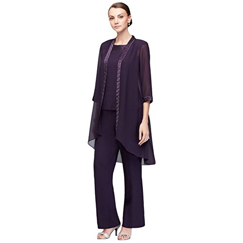 David's Bridal Chiffon Three-Piece Pantsuit with High-Low Jacket Style 24799, Eggplant, 8