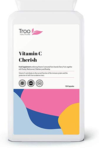 Vitamin C Cherish 120 Capsules - Natural Food Vitamin C Supplement Containing Acerola Cherry - Supports Immune Function and Fatigue Reduction - UK Manufactured