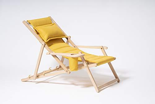 Holz Liegestuhl klappbar   Lounge Sessel mit Kissen   Sonnenliege für Garten, Balkon, Camping   Klappstuhl mit Armlehne & Getränkehalter   Modern Gartenstuhl, Relaxliege   Gelb Stuhl von MyDeer