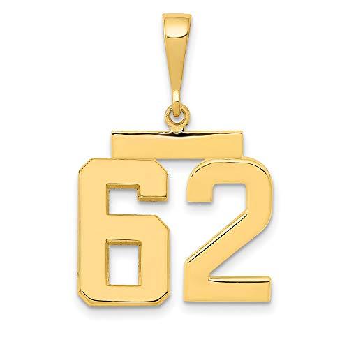 Charm Pendant 14K Yellow Gold Themed 62 Medium Polished Number