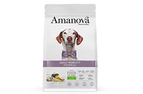Amanova Cibo Secco Super Premium per Cani Adulti - per la Salute delle articolazioni Gusto Pesce Bianco - 100% Naturale, ipoallergenico e monoproteico - Low Grain - Cruelty Free - Formato da 10 kg