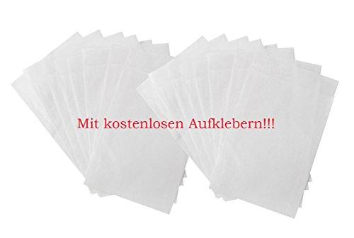100 kleine Papiertüte WEISS Mini-Tüte Papier-Flachbeutel PERGAMIN 9,5 x 13 + 2 cm Lasche leicht durchsichtig für Gastgeschenke Mitgebsel give-aways Freundentränen Verpackung