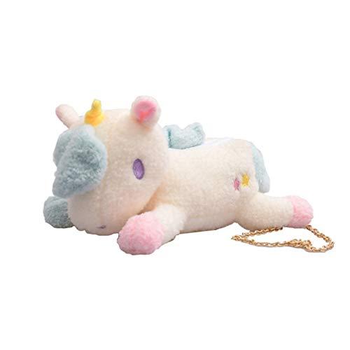 FENICAL bolsa de unicornio de felpa bolso bandolera monedero bolso de hombro bolsa de mensajero gif de navidad para niños niñas (blanco)