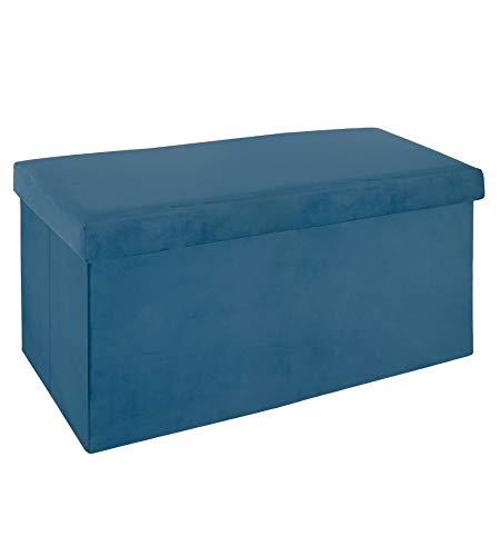 Pouf pliable - L 76,6 x l 38 x H 37,5 cm - Velours - Bleu foncé