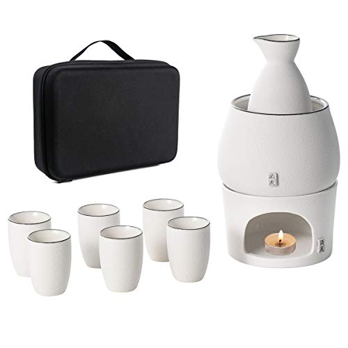 White Sake Set and Cups with Warmer Keep Sake Storage Gift Box, Traditional Porcelain Japanese Pottery Hot Saki Drink, 9-Piece include 1 Stove 1 Warming Bowl 1 Sake Bottle 6 Cup (Candle NOT Included)