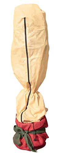 Windhager Winter-Vlieshaube PROTECT L, Thermovlies, Frostschutz, Kälteschutz für Sträucher und Kübelpflanzen, mit Zip und Kordelzug, 0,6 x 1,8 m, 50 g/m², beige, 06729