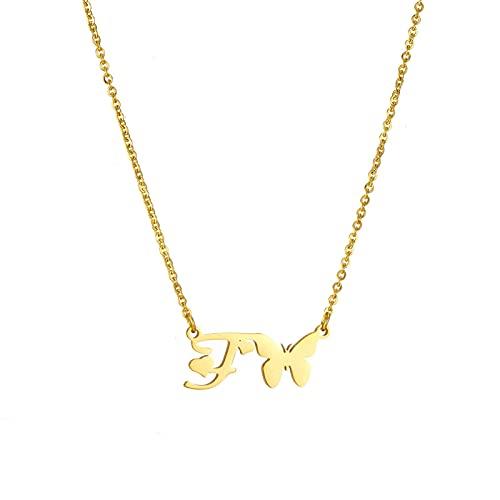 SMEJS Lindo AZ Letras iniciales Collar de mariposa Joyas Letras simples Gargantilla de mariposa Charm Joyas de cumpleaños Regalos para mujeres Adolescentes (Caja de regalo)