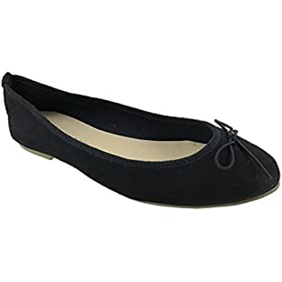 Customer reviews Ladies Faux Suede Flat Ballerina Dolly Pumps Shoes Bow Detail Size 3-8 (UK 7):Eventmanager