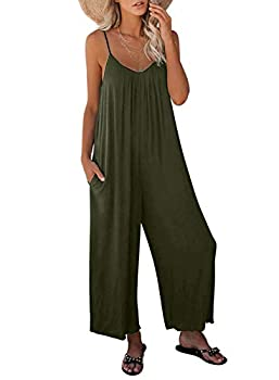 Asyoly Women s Loose Plus Size Jumpsuits for Women Adjustable Spaghetti Strap Stretchy Wide Leg Solid One Piece Sleeveless Long Pant Romper Jumpsuit with Pockets Green Large