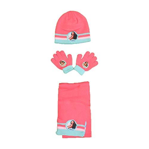 Vaïana Set Mütze + Handschuhe + Schal für Mädchen Gr. One size, korallenrot