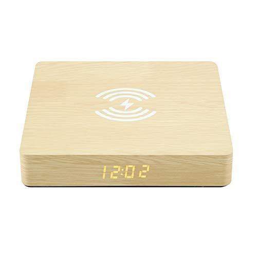 LYLY Reloj despertador con cargador inalámbrico para teléfono, reloj digital moderno con carga Qi, fácil de ajustar (color amarillo)