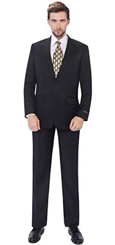 P&L Men's 2-Piece Classic Fit Single Breasted 2 Buttons Blazer & Trousers Suit Black