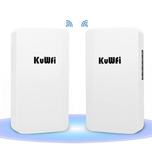 KuWFi 300 Mbps utomhus trådlös brygga långdistans point-to-point WiFi-förlängare, WiFi-sändare 14 DBi hög åtkomstpunkt, Wi-Fi-brygga, enkel inställning