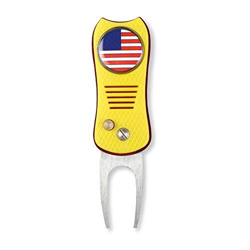 HAIYUE faltbares Golfgrube Reparatur-Werkzeug I Love USA, Bald Eagle, USA Flagge, Freiheitsstatue Muster, amerikanischer Patriotismus, magnetischer Ballmarker (Mehrfarbig/Fischform), Unisex, gelb
