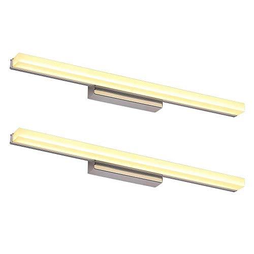 NBVCX Home Decoration 2er-Pack Moderne LED-Waschtischleuchten für Spiegel Edelstahl Silber Bad Waschtischleuchten - Acrylschirm Make-up Lampe Hart verbunden Schlafzimmer Nachttisch Wandleuchte Licht