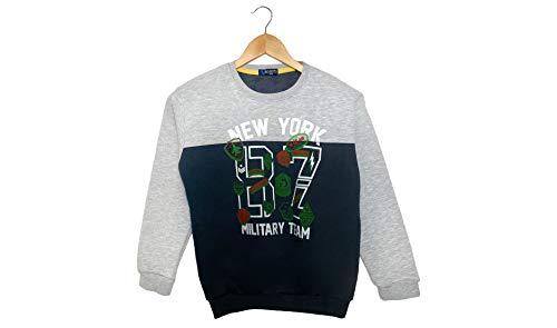 BOBITO Sweatshirt für Jungen | Military Team Pullover *New York* (158, Grau/Anthrazit)