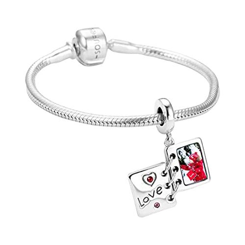 Pulsera con colgante de libro personalizado, pulsera con foto, pulsera de amor, pulsera de mujer, pulsera de plata para mujer(Libro 7.5)