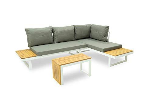 Stilè Juego Dafne sofá modular de jardín/exterior de aluminio blanco Set sofá angular con chaise longue de jardín 5 posiciones con mesa muebles de jardín ratán...