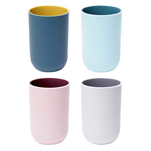 TOPBATHY 4 Stücke Plastikbecher Zahnbürste Tasse Tumbler Zahnbürstenhalter Doppel Farbe Trinkbecher für Bad nach Hause