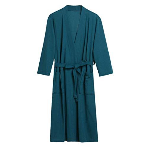 Albornoz unisex S camisones de noche clásico cómodo vestido de manga larga cuello en V con bolsillos Kimono con cinturón pijama color sólido Sauna abrigo de casa