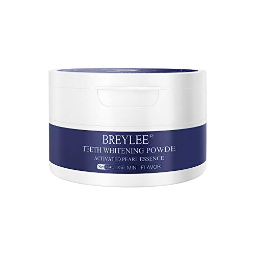 Teeth Whitening, BREYLEE Teeth Whitening Powder with Pearl Essence and Baking Soda Tooth Powder for Remove Stain Caused by Tea Coffee and Food, Whiten Yellow Teeth and Keep Oral Fresh(55g, 1.94 oz)