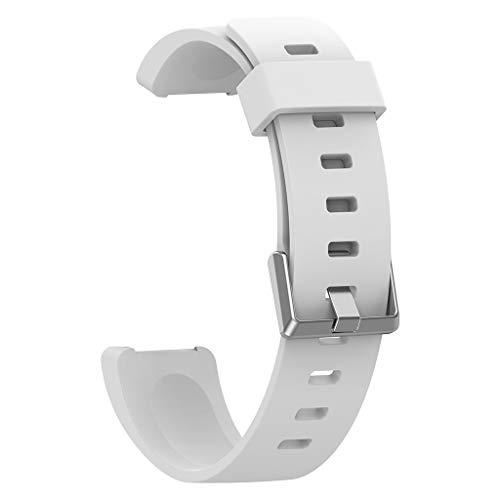 Cyond für Fitbit Inspire/Inspire HR smartwatch ersatz Uhren Armband Silikon Uhrenarmbänder 219mm Sportuhren verstellbares Uhrenarmband Silikagel Bracelet mit Edelstahlschnalle (White)