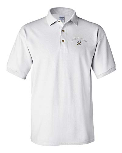 Custom Text Embroidered Cigar and Martini Logo Men's Adult Button-End Spread Short Sleeve Cotton Polo Shirt Golf Shirt - White, X Large