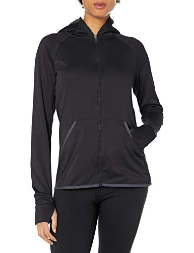 Hanes Women's Sport Performance Fleece Full Zip Hoodie, Black Heather/Dada Grey Binding, L